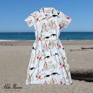 "Aloha Blossom "" Bossa Nova "" Shirts Dress / White (10th Anniversary Limited Item)"