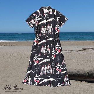 "Aloha Blossom "" Bossa Nova "" Shirts Dress / Black (10th Anniversary Limited Item)"