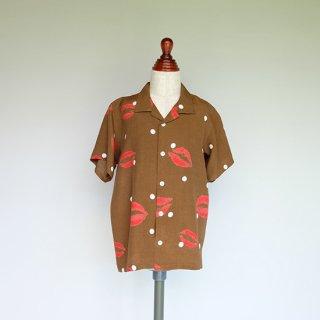 "Aloha Blossom "" Kiss "" Kids Aloha Shirts / Brown"