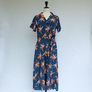 """Aloha Blossom """" Birds Of Paradise """" Shirt Dress Navy"""