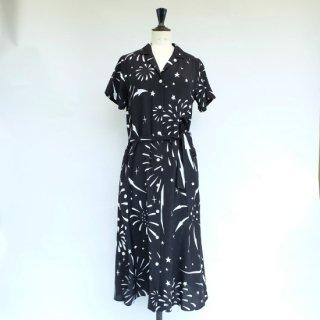 "Aloha Blossom "" Hanabi "" Shirt Dress Black"