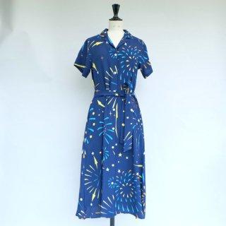 "Aloha Blossom "" Hanabi "" Shirt Dress Navy"