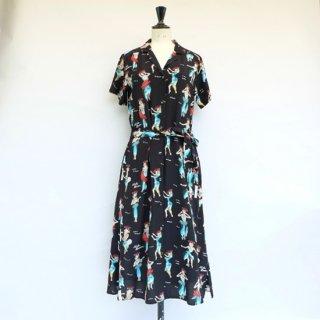 "Aloha Blossom "" Hula Girl "" Shirt Dress Black"