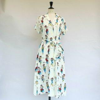 "Aloha Blossom "" Hula Girl "" Shirt Dress Natural White"