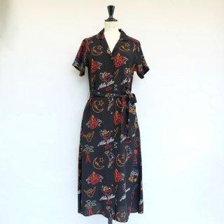 "Aloha Blossom "" Neon "" Shirt Dress Black"