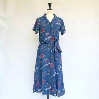 "Aloha Blossom "" Neon "" Shirt Dress Navy"