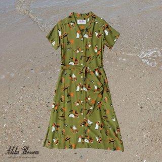 "Aloha Blossom "" King & Queen "" Shirt Dress Kahki"