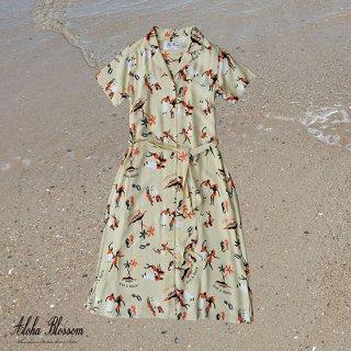 """Aloha Blossom """" King & Queen """" Shirt Dress Beige"""