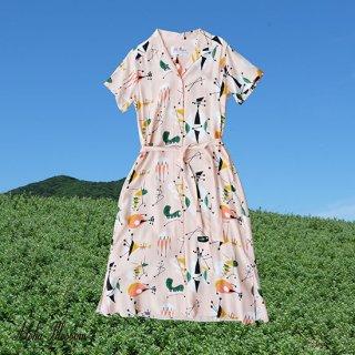 "Aloha Blossom "" Atomic "" Shirt Dress Pink"