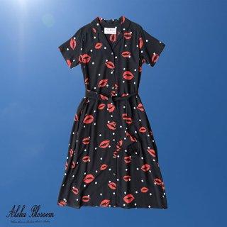 """Aloha Blossom """" Kiss """" Shirt Dress Black"""
