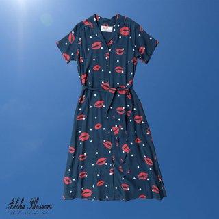 "Aloha Blossom "" Kiss "" Shirt Dress Navy"