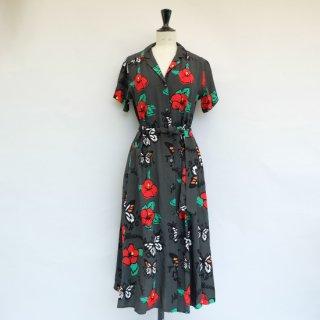 """Aloha Blossom """" Tehu Tehu """" Shirt Dress Charcoal"""
