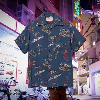 "Aloha Blossom "" Neon "" Aloha Shirts / Navy"