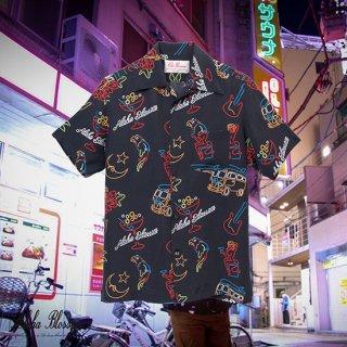 """Aloha Blossom """" Neon """" Aloha Shirts / Black"""