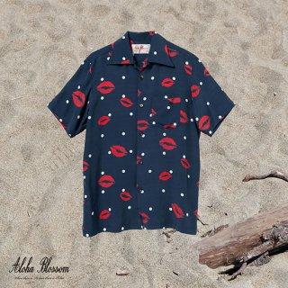 """Aloha Blossom """" Kiss """" Aloha Shirts / Navy"""