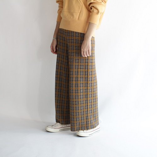 【PHEENY フィーニー】14G CHECK JACQUARD KNIT PANTS / BROWN