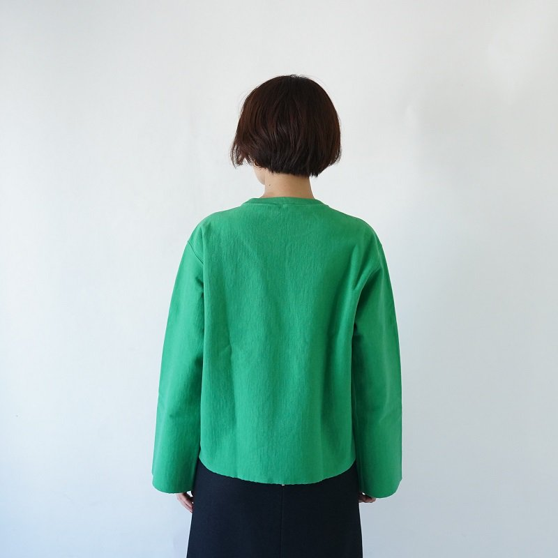 【AURALEE オーラリー】 SUPER MILLED SWEAT CUT OFF P/O -WOMEN- / GREEN