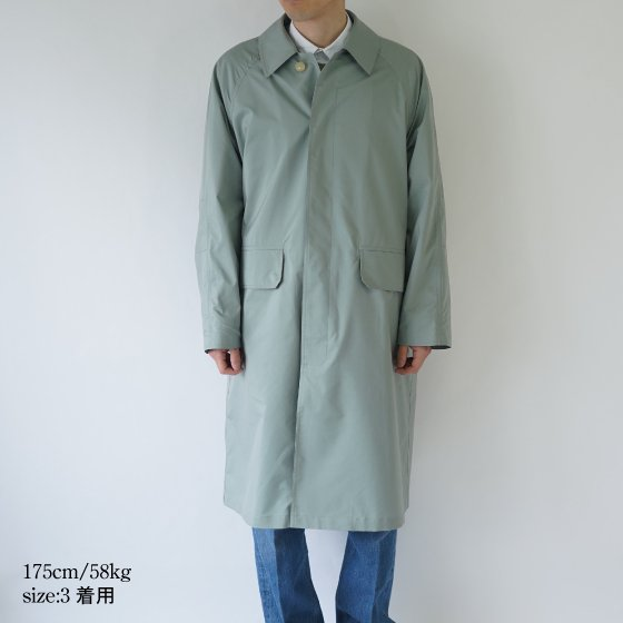 【AURALEE オーラリー】LIGHT FINX POLYESTER SOUTIEN COLLAR COAT -MEN- / LIGHT GREEN