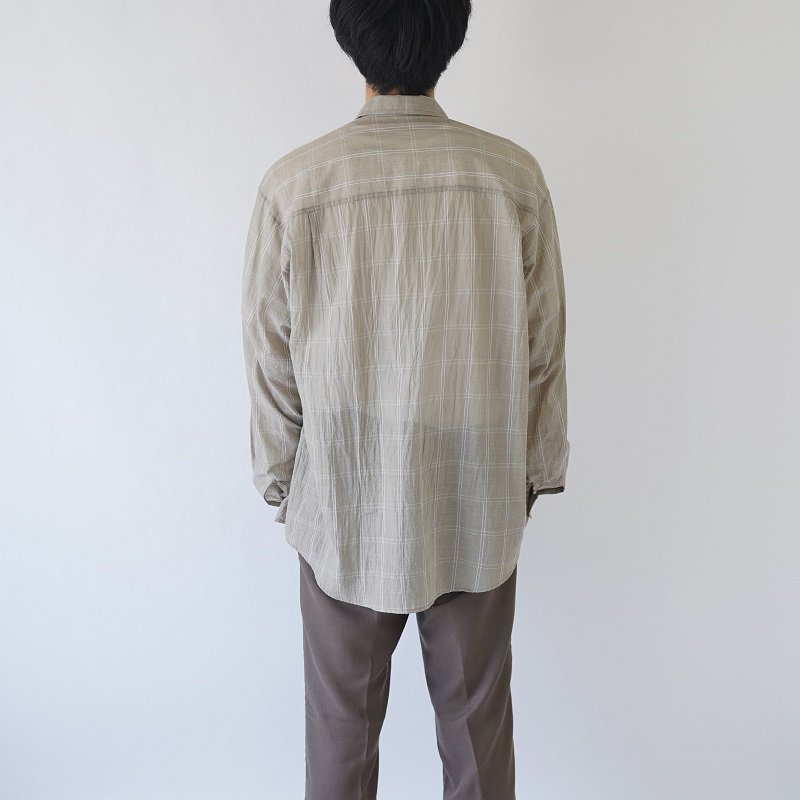 【AURALEE オーラリー】SUPER LIGHT CHECK BIG SHIRTS -MEN- / KHAKI WINDOWPANE