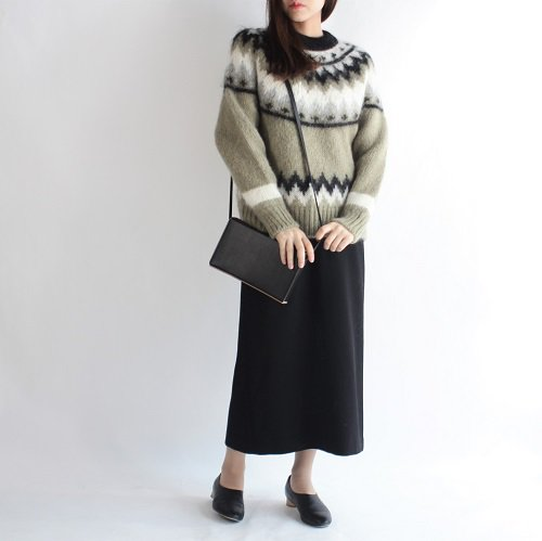 【BATONER バトナー】MOHAIR NORDIC CREWNECK 4COLOR -WOMEN- / KHAKI