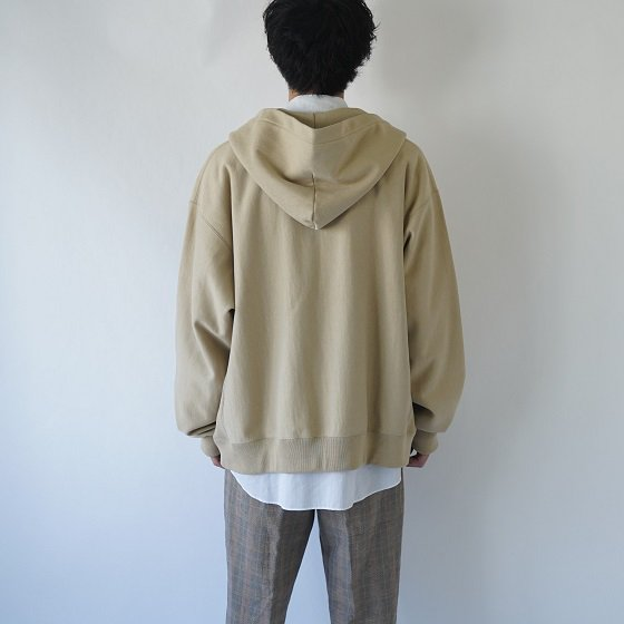 【unfil アンフィル】COTTON-TERRY ZIP UP HOODIE / SAND