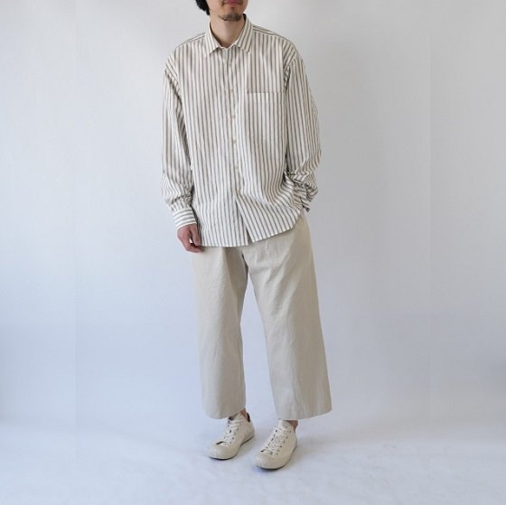 【AURALEE オーラリー】WASHED FINX TWILL STRIPE SHIRTS -MEN- / WHITE STRIPE