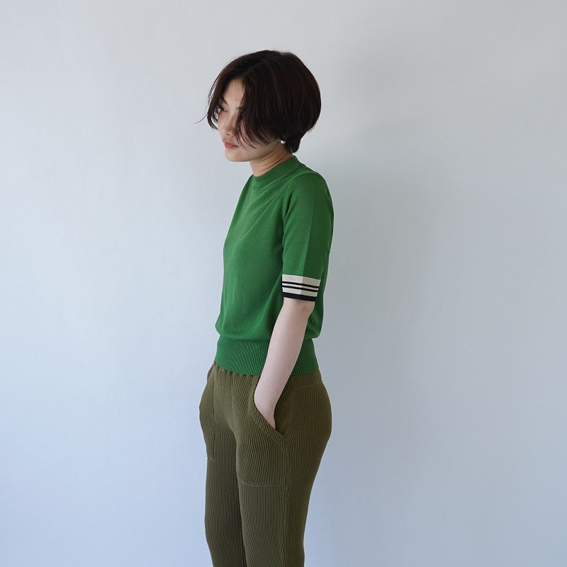 【PHEENY フィーニー】12G SCHOOL S/S KNIT / GREEN<img class='new_mark_img2' src='https://img.shop-pro.jp/img/new/icons20.gif' style='border:none;display:inline;margin:0px;padding:0px;width:auto;' />