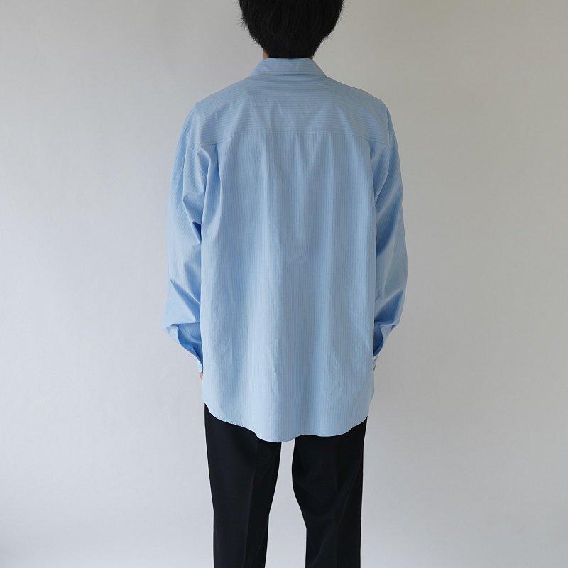 【AURALEE オーラリー】WASHED FINX TWILL BIG SHIRTS -MEN- / BLUE STRIPE
