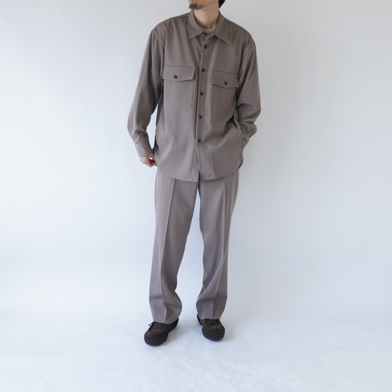 【AURALEE オーラリー】WOOL MAX GABARDINE SHIRTS -MEN- / GRAY BEIGE