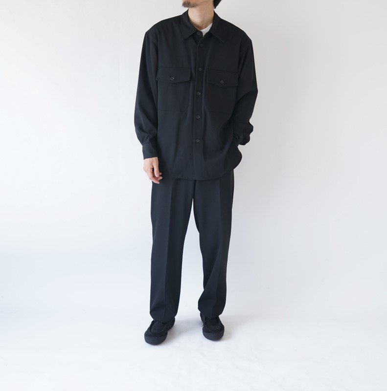 【AURALEE オーラリー】WOOL MAX GABARDINE SHIRTS -MEN- / BLACK