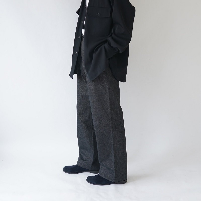 【AURALEE オーラリー】WASHED FINX POLYESTER CHINO PANTS -MEN- / MIX BLACK