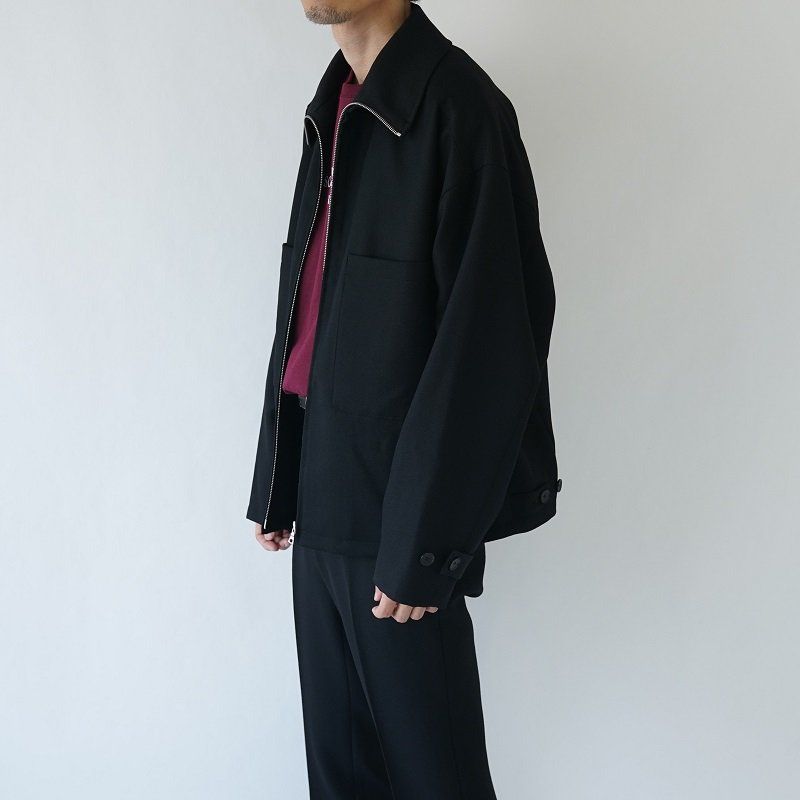 【AURALEE オーラリー】WOOL SERGE ZIP-UP BLOUSON -MEN- / BLACK