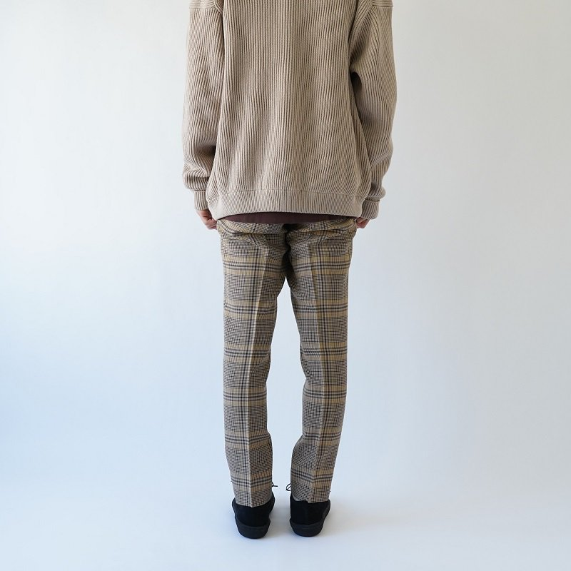 【AURALEE オーラリー】WOOL SERGE CHECK NARROW SLACKS -MEN- / BEIGE GREN CHECK