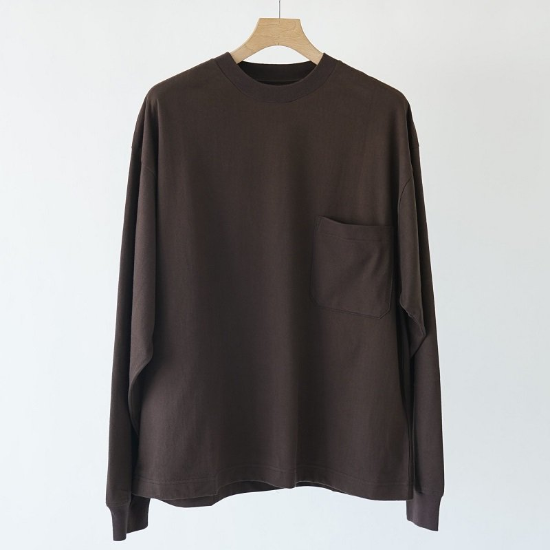 【unfil アンフィル】COTTON FLANNEL JERSEY LONG SLEEVE TEE / DARK BROWN