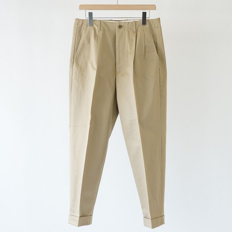 【SCYE サイ】SANJOAQUIN COTTON CHINO PLEATED BELTLESS / BEIGE