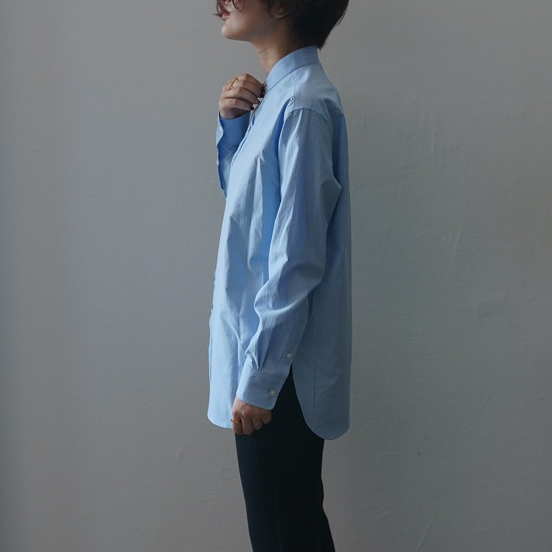 【AURALEE オーラリー】WASHED FINX TWILL SHIRTS -WOMEN- / BLUE STRIPE