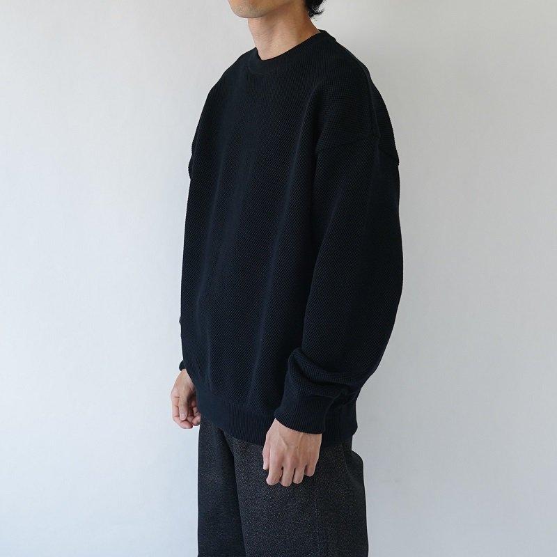 【crepuscule クレプスキュール】MOSS STITCH L/S SWEAT -MEN- / BLACK
