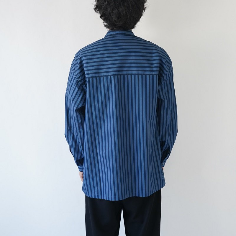 【E.TAUTZ イートウツ】LINEMAN SHIRT / NAVY×PALE BLUE STRIPE