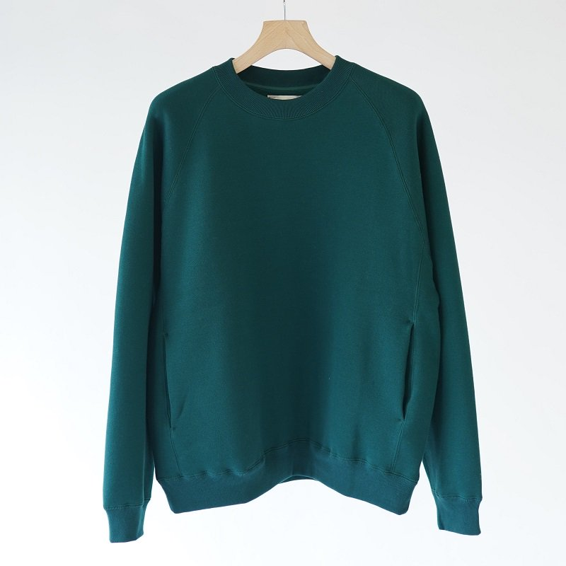 【unfil アンフィル】COTTON-TERRY CREW NECK PULLOVER / FOREST GREEN
