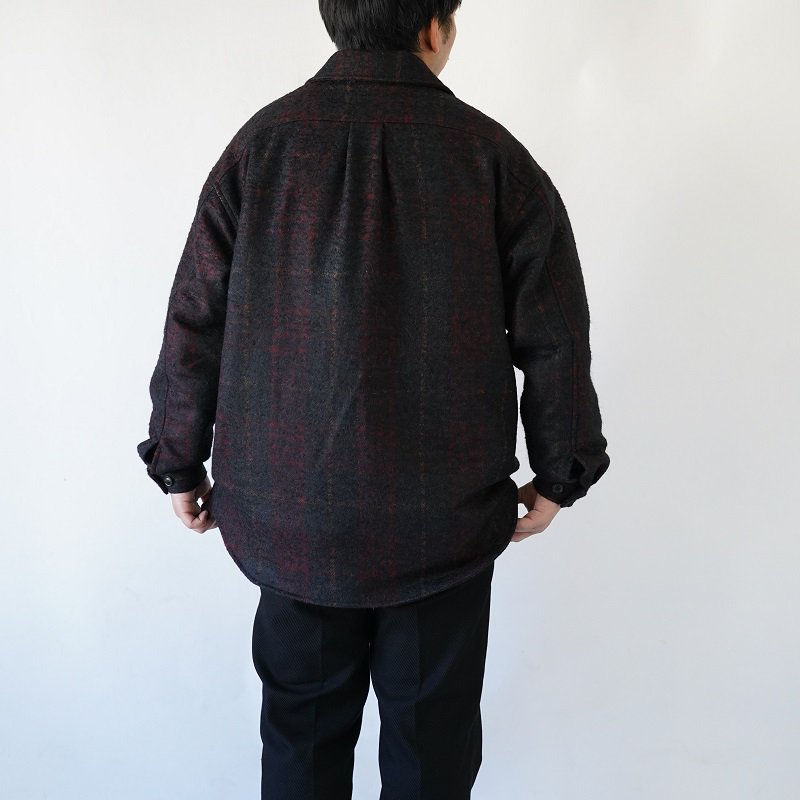 【LOWNN ローン】 QUILTED OVERSHIRT / BLACK×RED CHECK