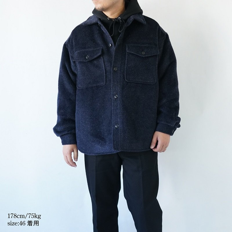 【LOWNN ローン】 QUILTED OVERSHIRT / NAVY PLAIN