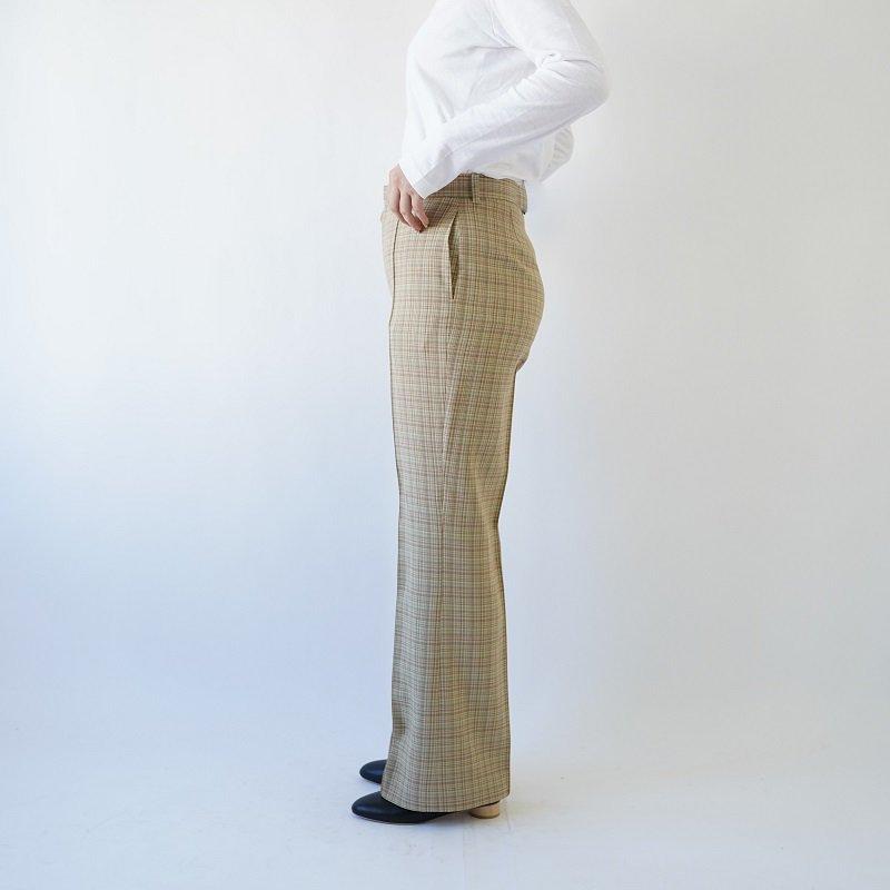 【AURALEE オーラリー】 HARD TWIST WOOL DOUBLE FACE CHECK SLACKS -WOMEN- / BEIGE CHECK