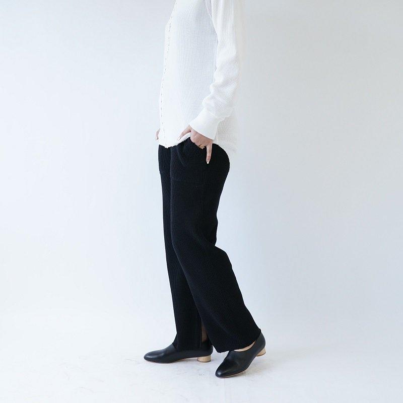 【PHEENY フィーニー】BIG WAFFLE SLIT PANTS / BLACK