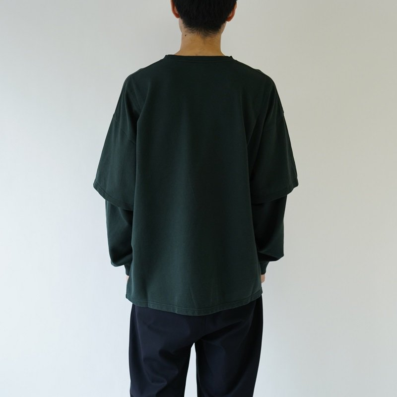 【WELLDER ウェルダー】LAYERED SLEEVES CREWNECK  /  GRAYISH GREEN