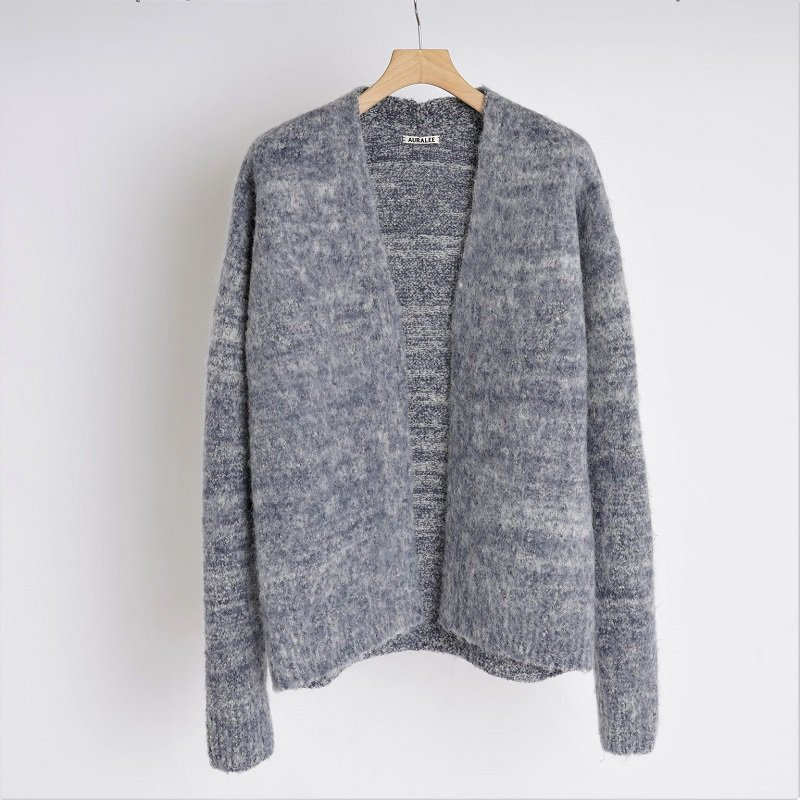 【AURALEE オーラリー】WOOL ALPACA FELT KNIT CARDIGAN / MIX DARK BLUE<img class='new_mark_img2' src='https://img.shop-pro.jp/img/new/icons20.gif' style='border:none;display:inline;margin:0px;padding:0px;width:auto;' />