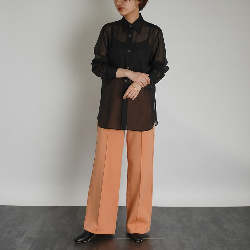 【AURALEE オーラリー】 WOOL RECYCLE POLYESTER SHEER CLOTH SHIRT  -WOMEN- / BLACK<img class='new_mark_img2' src='https://img.shop-pro.jp/img/new/icons20.gif' style='border:none;display:inline;margin:0px;padding:0px;width:auto;' />