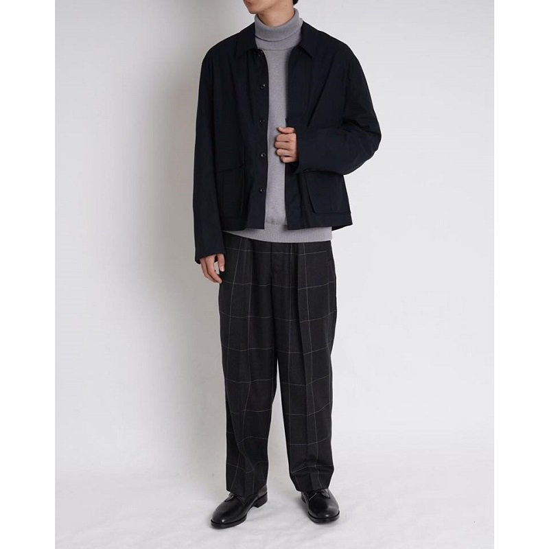 【YOKE ヨーク】1TUCK WIDE TROUSERS / NAVY CHECK
