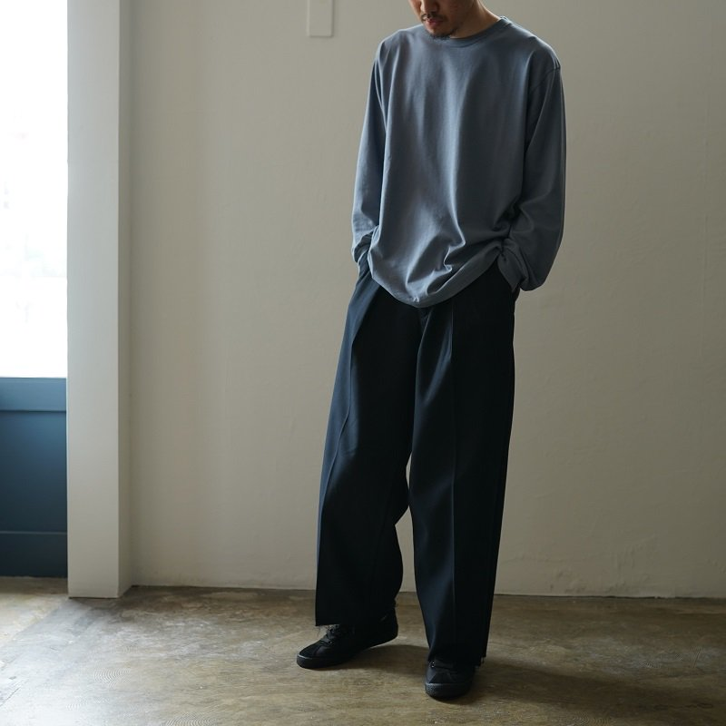 【saby サバイ】 TUCK BAGGY - Hicount 20/2 twill - / NAVY