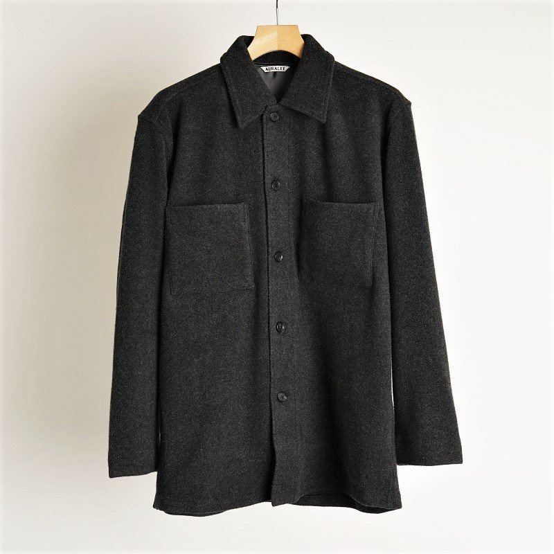 【21AW】【AURALEE オーラリー】 CASHMERE WOOL BRUSHED JERSEY BIG SHIRTS / TOP CHARCOAL