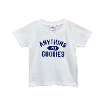 ANYTHING GOODIES<br>″ ANYTHING 70 COLLEGE ″(KIDS用) <br>WHITE / NAVY<img class='new_mark_img2' src='https://img.shop-pro.jp/img/new/icons6.gif' style='border:none;display:inline;margin:0px;padding:0px;width:auto;' />